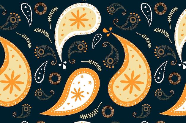 Fundo estampado fofo, padrão floral em vetor laranja abstrato