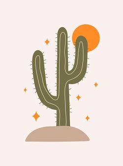 Fundo estético abstrato moderno com estrelas de cactos mexicanos e decoração de parede de sol no estilo boho