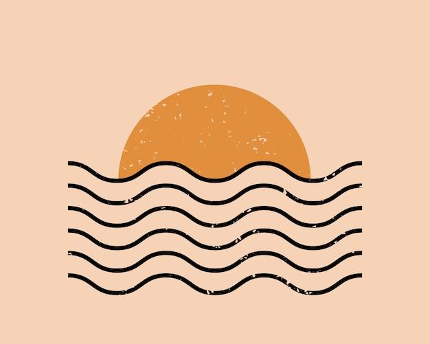 Fundo estético abstrato moderno com sol e ondas geométricas.