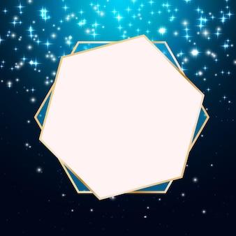 Fundo estrela brilhante com moldura dourada