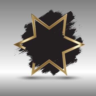 Fundo estrela dourado com design de pinceladas de grunge