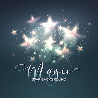 Fundo estrela mágica desfocado. ilustração vetorial