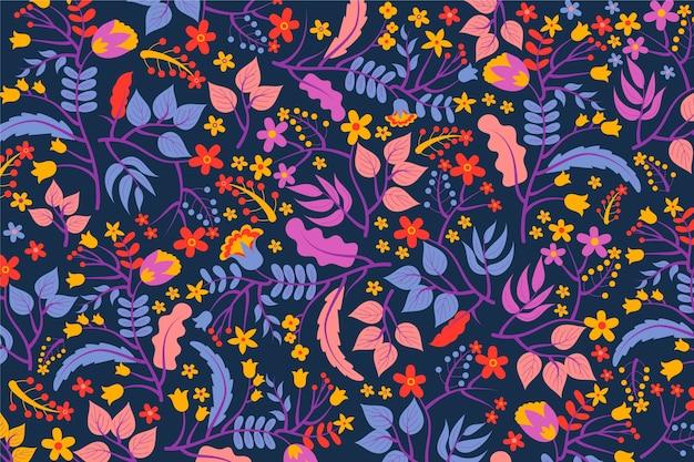 Fundo exótico colorido de flores e folhas