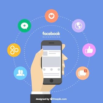 Fundo facebook com móvel e ícones