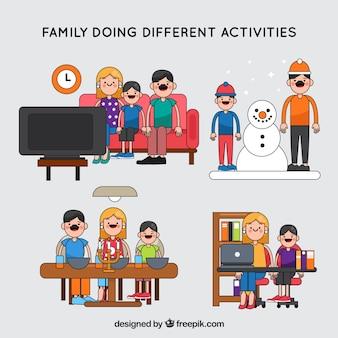 Fundo familiar fazendo atividades diferentes