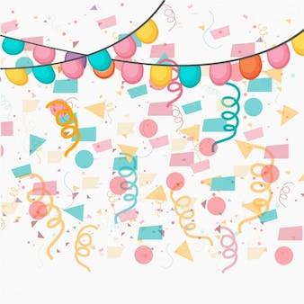 Fundo fantástico com confetes e grinaldas em cores pastel