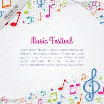 Fundo fantástico com notas musicais coloridas