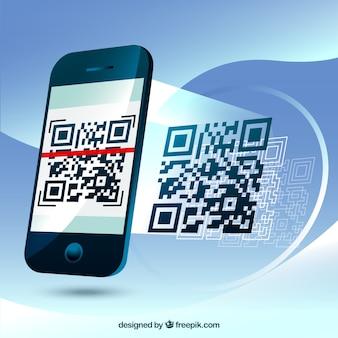 Fundo fantástico do telefone móvel a digitalização de um código qr