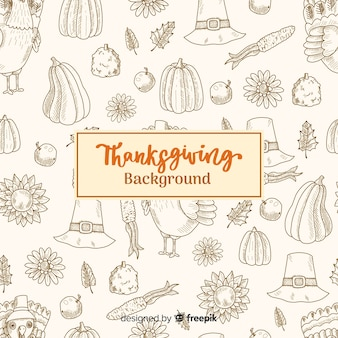 Fundo feliz ação de graças com ilustrações esboçadas