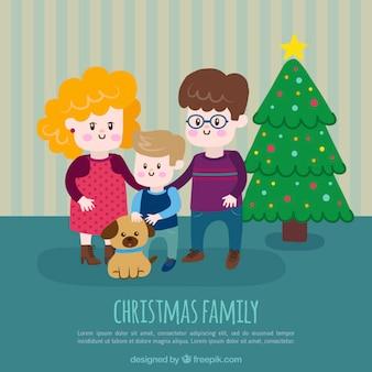 Fundo feliz da família com árvore de natal e filhote de cachorro