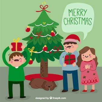 Fundo feliz da família com presentes do natal
