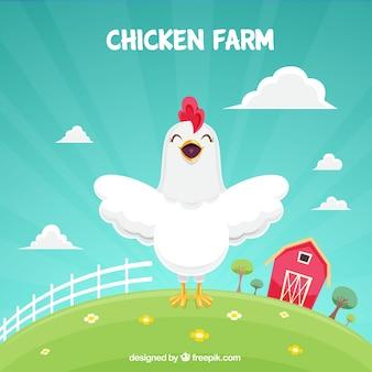Fundo feliz da galinha na exploração agrícola