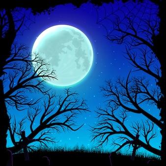 Fundo feliz da noite de dia das bruxas com a silhueta do luar e da floresta.