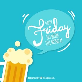Fundo feliz da sexta-feira com cerveja