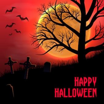 Fundo feliz de halloween com cemitério, árvores e lua.