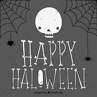 Fundo feliz de halloween com crânio e teias de aranha desenhadas a mão