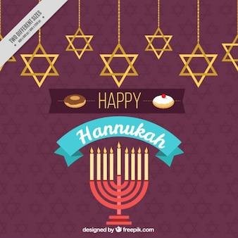 Fundo feliz de hanukkah com candelabro e estrelas penduradas