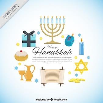 Fundo feliz de hanukkah com detalhes azuis