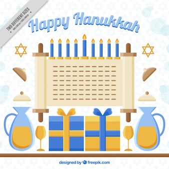 Fundo feliz de hanukkah com elementos decorativos em design plano