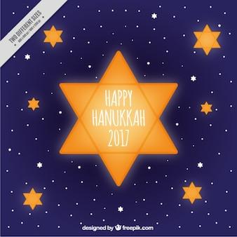 Fundo feliz de hanukkah com estrelas amarelas