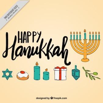 Fundo feliz de hanukkah com itens desenhados à mão