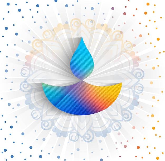 Fundo feliz do cartão colorido do festival da lâmpada de óleo do diya do diwali