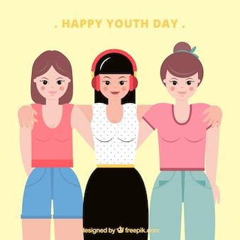 Fundo feliz do dia da juventude com meninas unidas em design plano