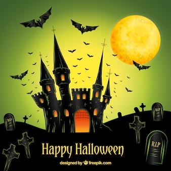 Fundo feliz do dia das bruxas com o castelo desenhado mão