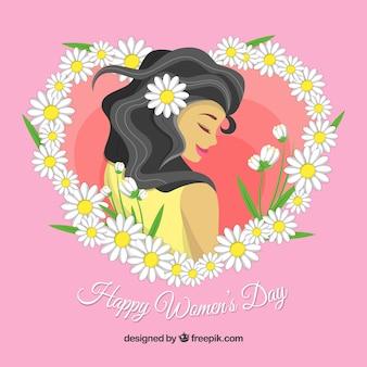 Fundo feliz do dia das mulheres com uma morena de cabelos compridos