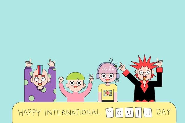 Fundo feliz do dia internacional da juventude