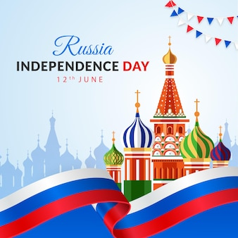 Fundo feliz do feriado do dia da independência da rússia com a catedral de são manjericão