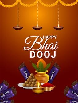 Fundo feliz do festival indiano de bhai dooj com ilustração e plano de fundo criativos