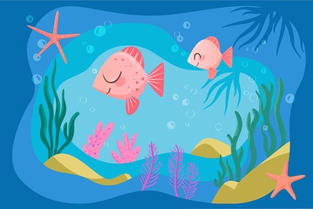 Fundo feliz peixe rosa para videoconferência on-line