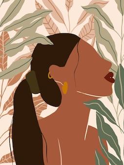 Fundo feminino abstrato com galho de árvore de folhas exóticas pôster minimalista moderno