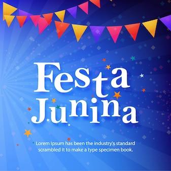 Fundo festa junina azul