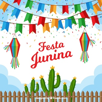 Fundo festa junina com bandeirolas planas