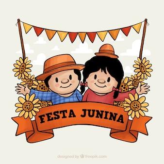 Fundo festa junina com casal