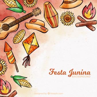 Fundo festa junina com elementos desenhados a mão