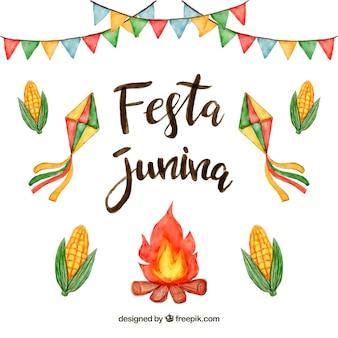 Fundo festa junina com elementos em aquarela