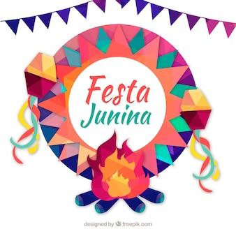 Fundo festa junina com elementos geométricos