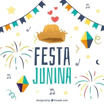 Fundo festa junina com elementos tradicionais