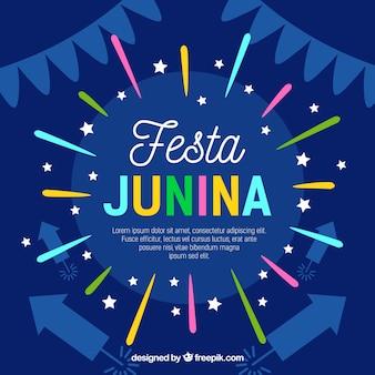 Fundo festa junina com fogos de artifício