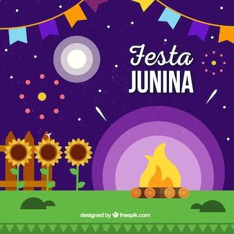 Fundo festa junina com fogueira à noite