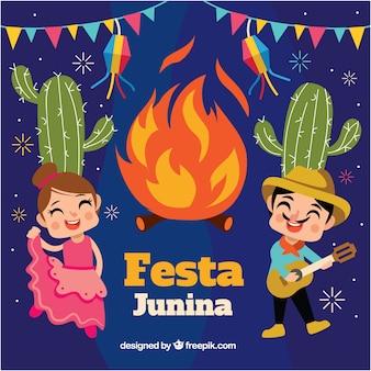 Fundo festa junina com fogueira e casal