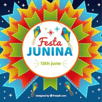 Fundo festa junina com formas coloridas
