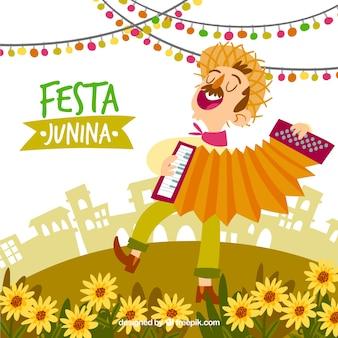 Fundo festa junina com homem cantando