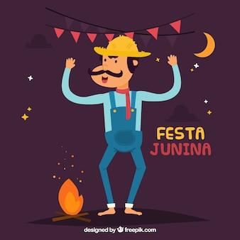 Fundo festa junina com homem e fogo