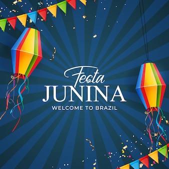 Fundo festa junina com lanterna de bandeiras de festa