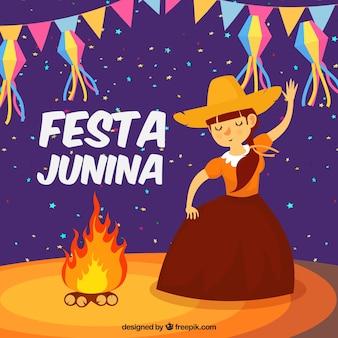 Fundo festa junina com menina dançando