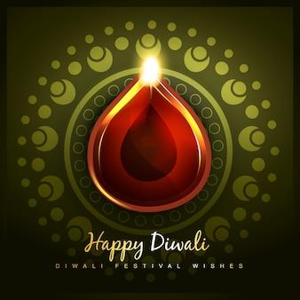 Fundo festival de diwali com diya brilhante